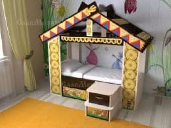 Детская кровать Теремок с крыльцом