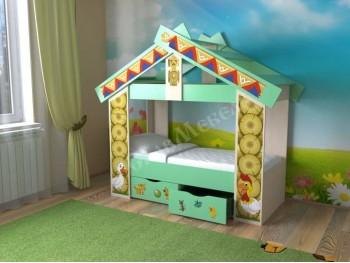 Детская кровать Теремок с ящиками